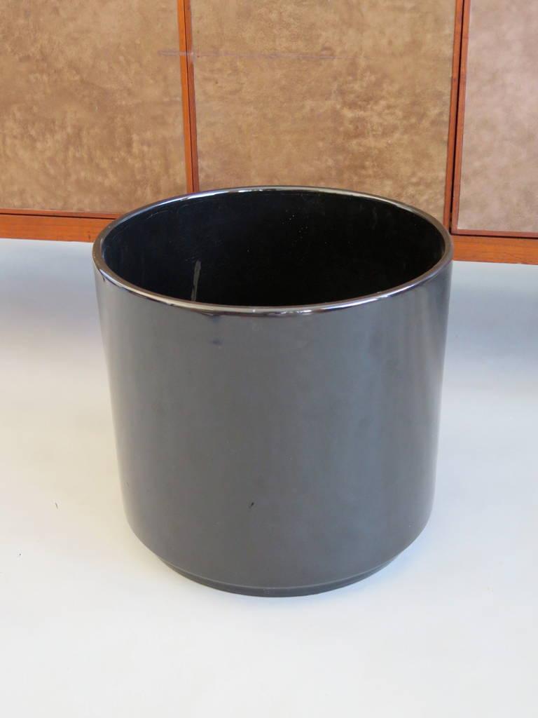 pair of gainey pottery shiny black ceramic planters