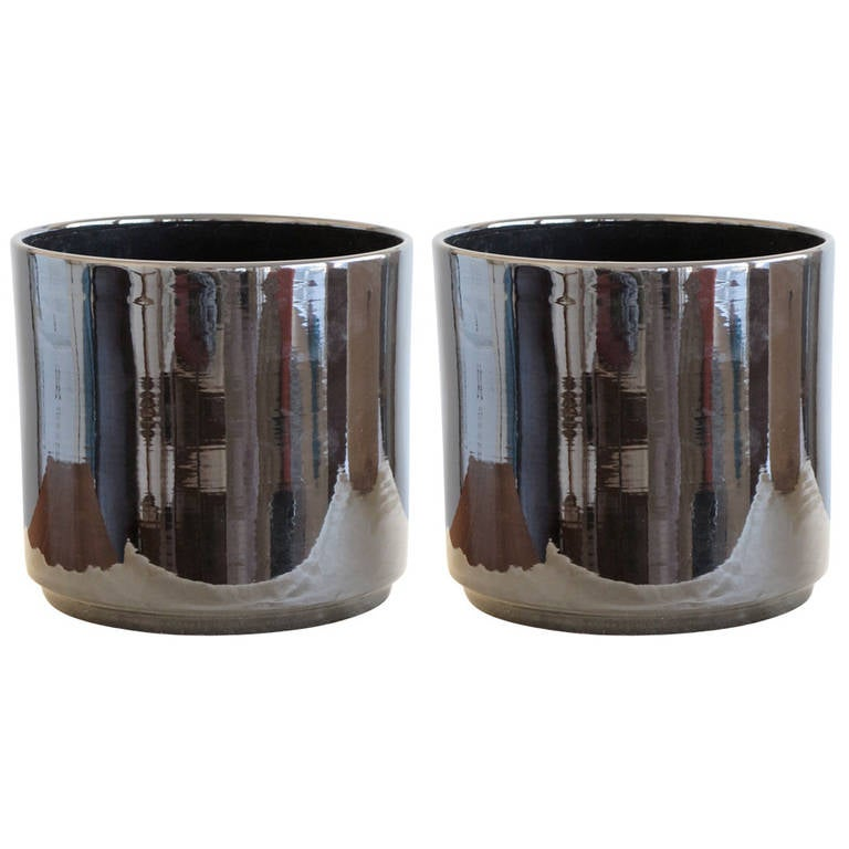 Pair of Gainey Pottery Shiny Black Ceramic Planters, Vintage and Unused