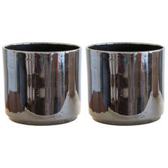 Pair of Gainey Pottery Shiny Black Ceramic Planters, Vintage and Unused