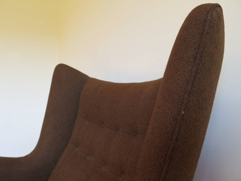 Original Hans Wegner Papa Bear Chair and Ottoman For Sale 1