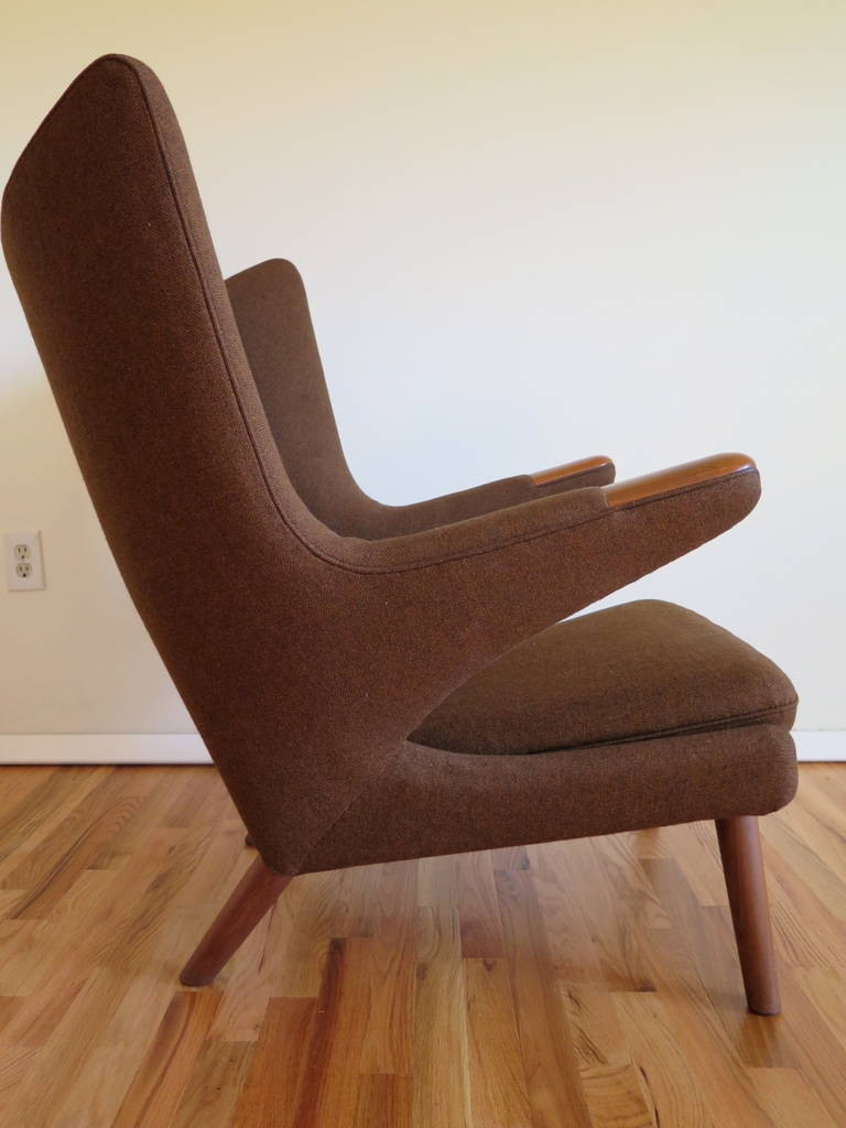 Mid-20th Century Original Hans Wegner Papa Bear Chair and Ottoman For Sale