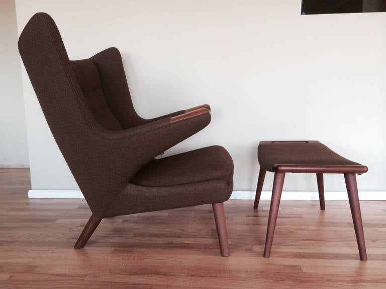 Danish Original Hans Wegner Papa Bear Chair and Ottoman For Sale