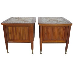 A Pair of Mid Century Walnut Nightstands with Tile Decoration