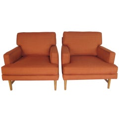 A Pair of Classic 1950's  Upholstered Arm Chairs
