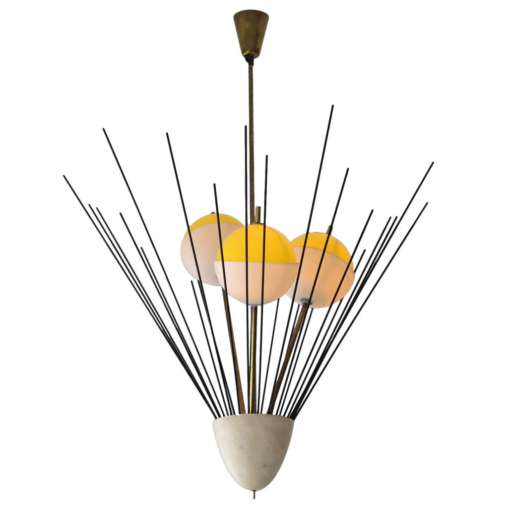 Arredoluce chandelier with brass rods and three shades for for Arredo luce