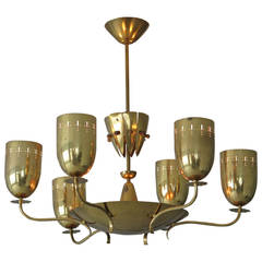 Large German Chandelier in Polished Brass, circa 1950s