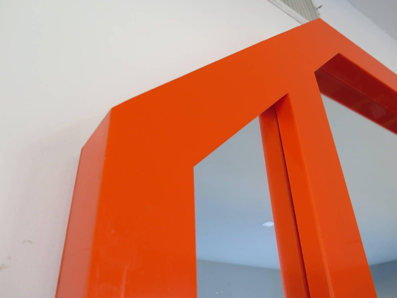 Massive 1970s Orange Plexiglass Mirror At 1stdibs