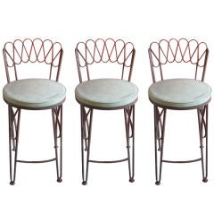 Three Bar Stools By Tempestini for Salterini in Wrought Iron