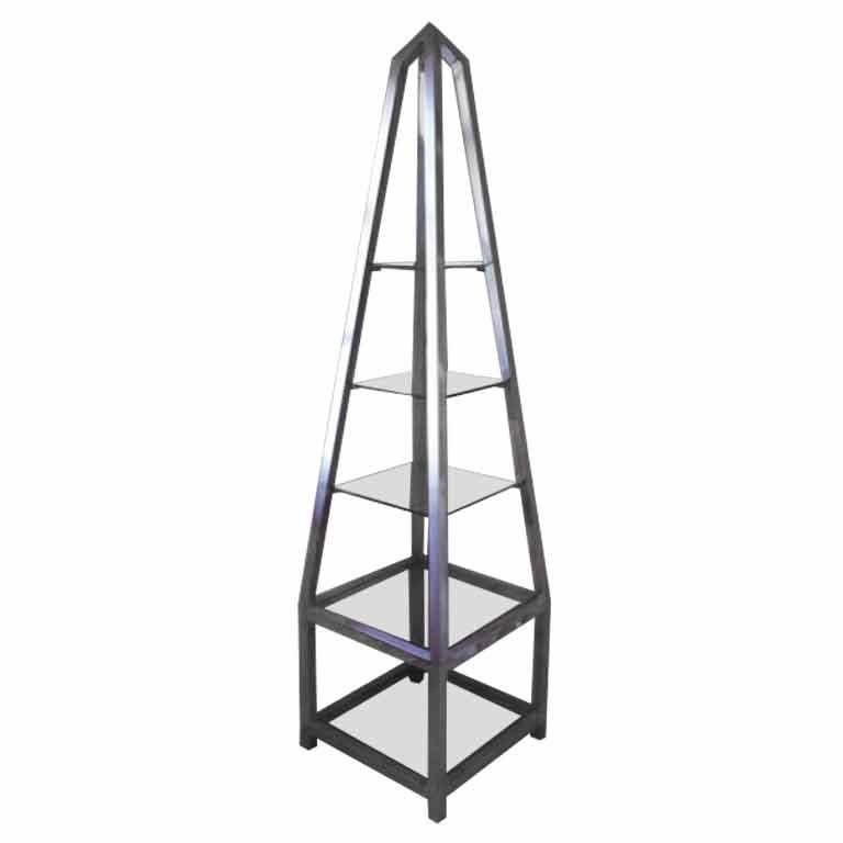 Obelisk Etagere In Polished Aluminum