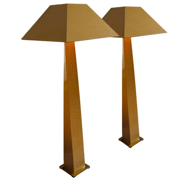 African Floor Lamps on Pair Of Karl Springer Column Floor Lamps In African Makore