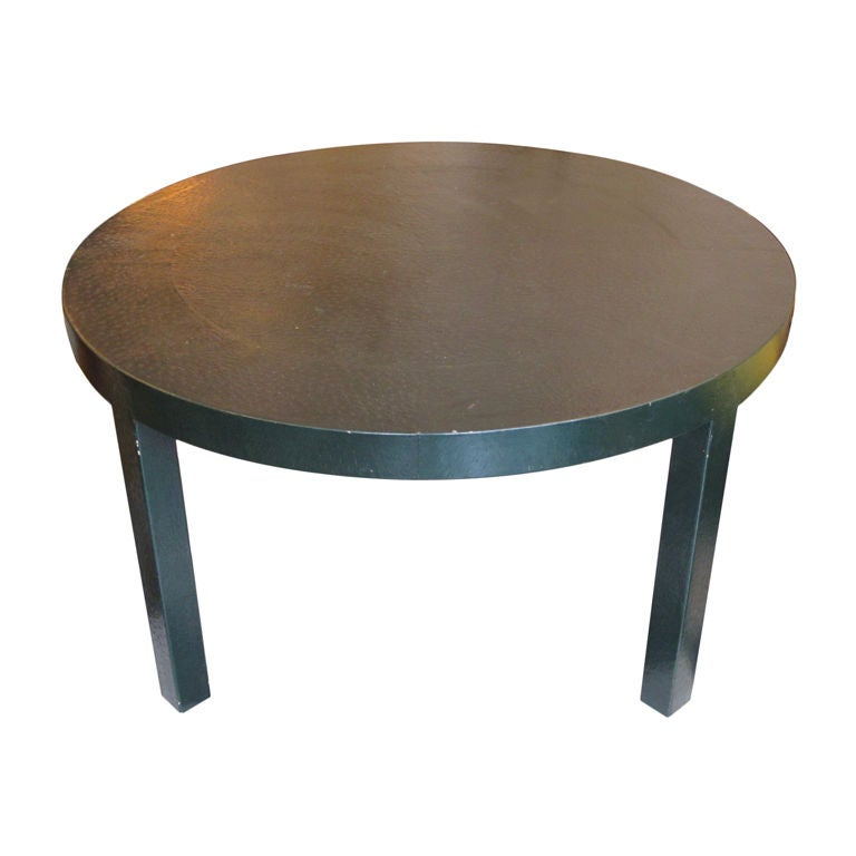 A Game Table In Dark Green Leather Attributed To Karl Springer For Sale