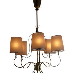 Elegant Polished Brass Chandelier By Paavo Tynell