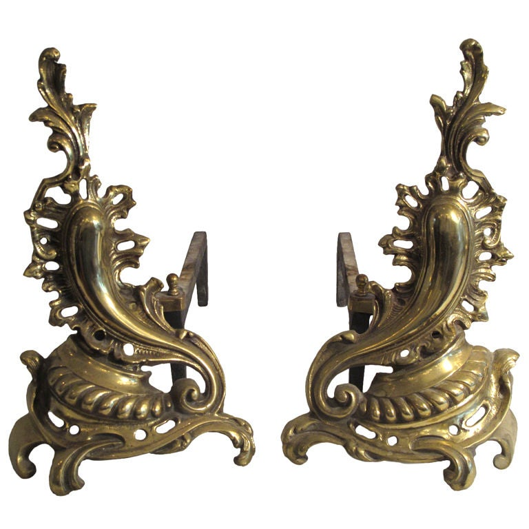 A Pair of Decorative Baroque Style Andirons
