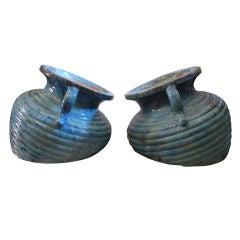 A Pair of Massive Turquoise  Ceramic Planters