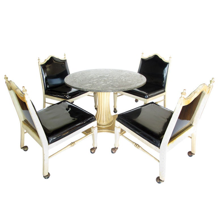 Foster-McDavid Marble Top Game Table with Four Lounge Chairs For Sale