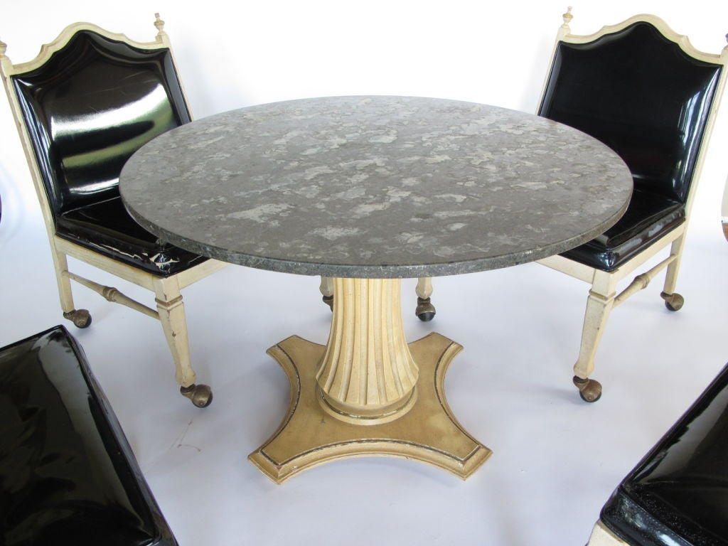 Foster-McDavid Marble Top Game Table with Four Lounge Chairs For Sale 3