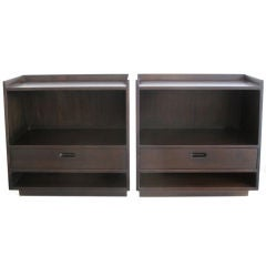 A Pair of Edward Wormley for Dunbar Slant Front Nightstands