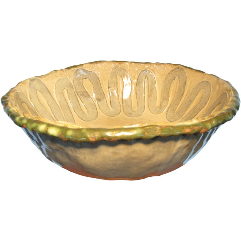 A Large Decorated Ceramic Bowl By Marguerite Antell For Sale