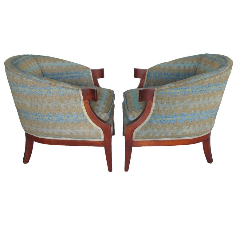 Pair of Classic Armchairs by Baker For Sale