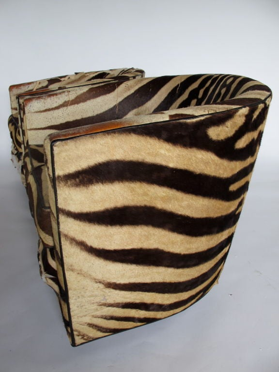 A Pair of Wormley for Dunbar Barrel Chairs in Original Zebra image 2