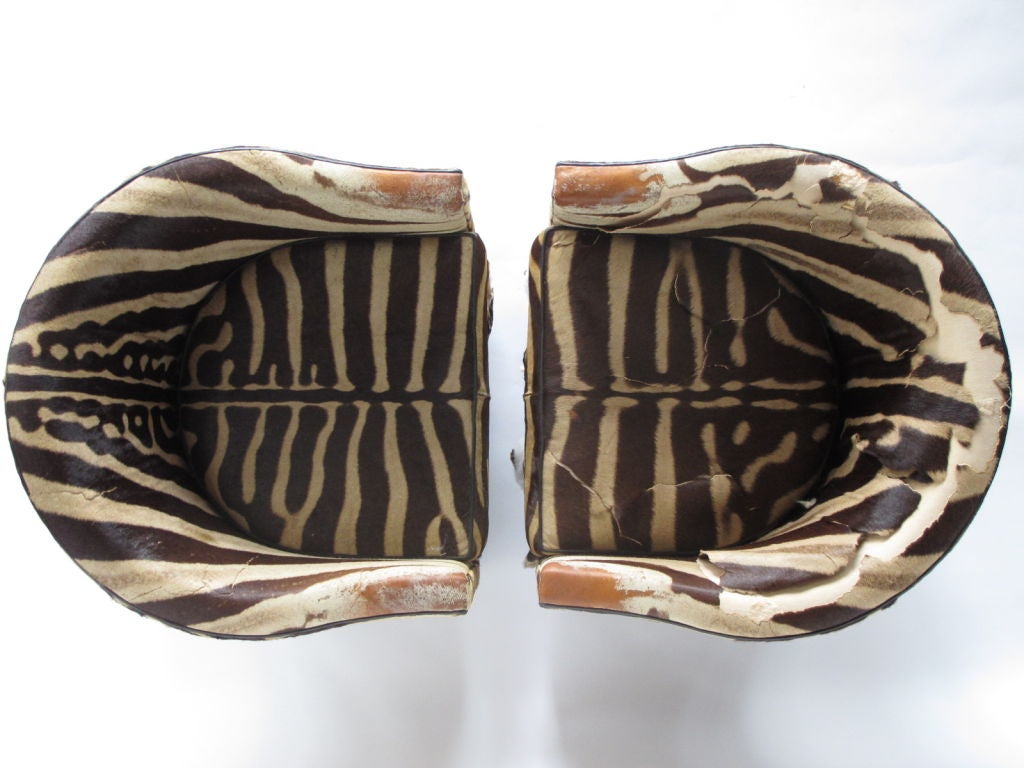 A Pair of Wormley for Dunbar Barrel Chairs in Original Zebra image 4