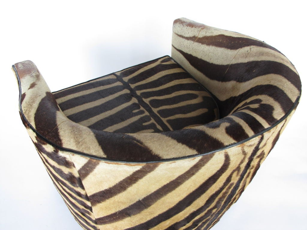 A Pair of Wormley for Dunbar Barrel Chairs in Original Zebra image 7