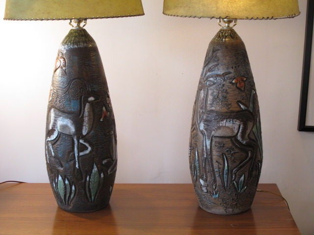A Pair of Massive Ceramic Lamps By Petrusson, 1975 2