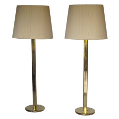 A Pair Elegant Floorlamps In Polished Brass
