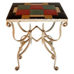Unusual Art Deco Tile Top Table with Wrought Iron Base
