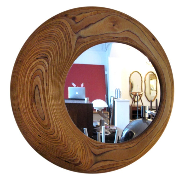 unusual mirror of laminated hardwood at 1stdibs