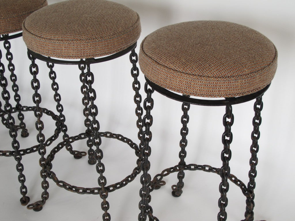 A Set Of Four Wrought Iron Chain Link Barstools At 1stdibs