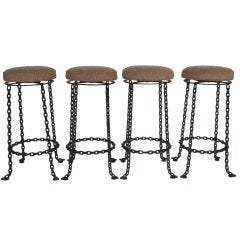 A Set of Four Wrought Iron Chain Link Barstools