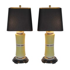 Pair of Elegant Ceramic Lamps by Waylande Gregory