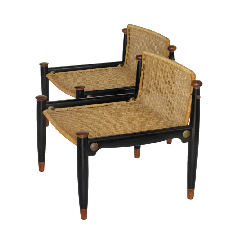 a pair of low back decorative wicker chairs by frank kyle at 1stdibs. Black Bedroom Furniture Sets. Home Design Ideas