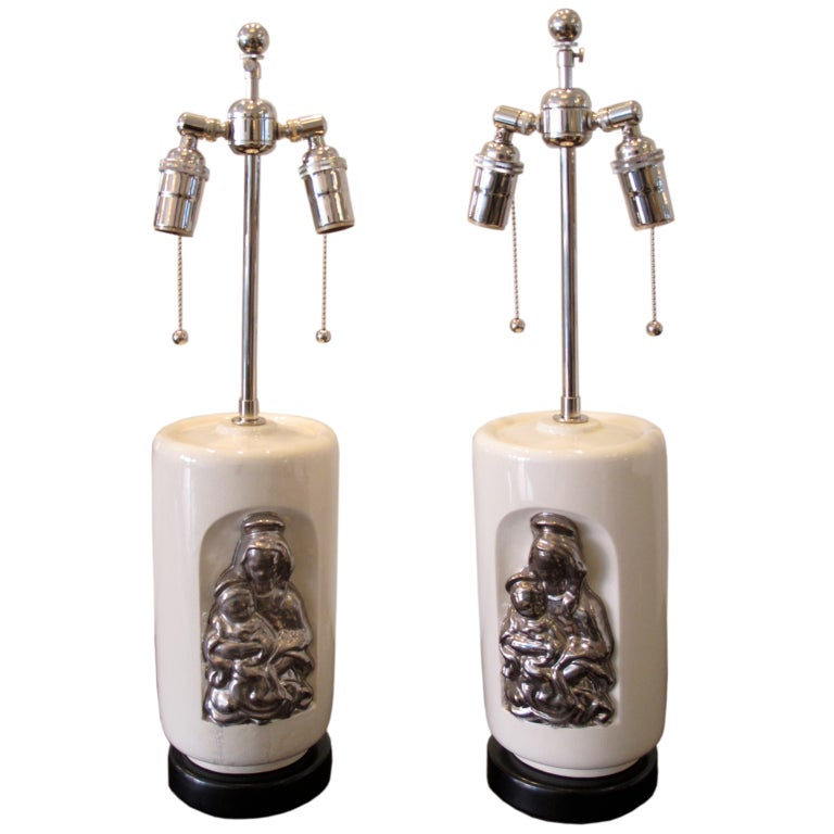 """Pair of Waylande Gregory """"Madonna and Child"""" Ceramic Lamps"""
