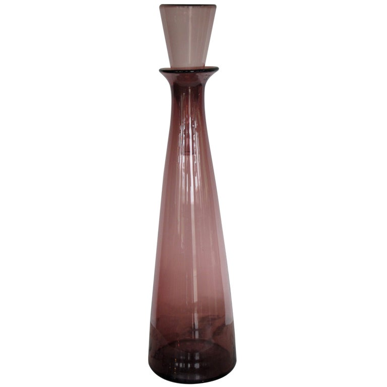 Massive Blenko Bottle With Decanter