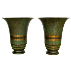 A Pair of Carl Sorensen Large Bronze Vases