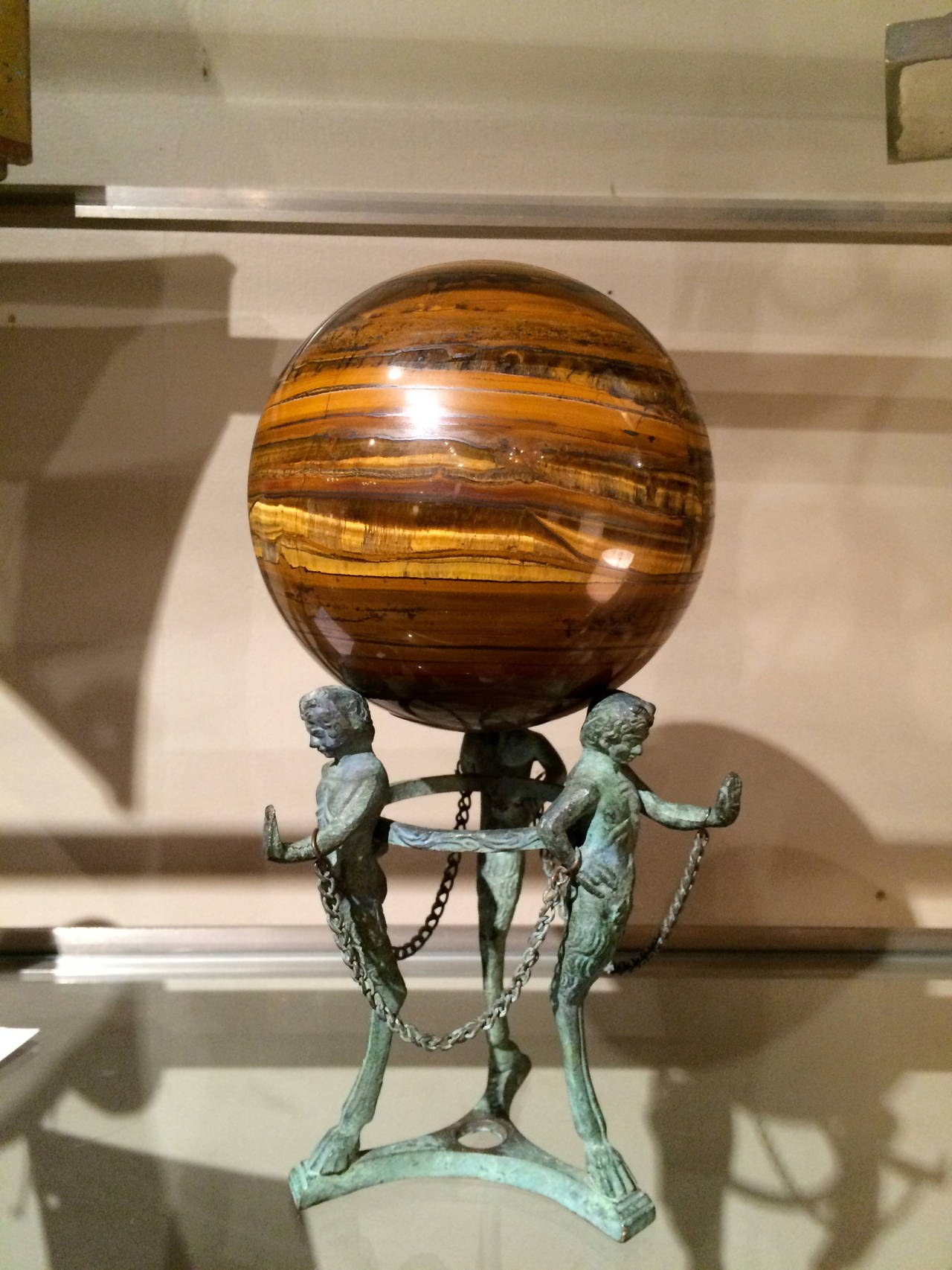 Grand Tour Neoclassical Bronze Tripod Stand with Agate Orb In Good Condition For Sale In Stamford, CT