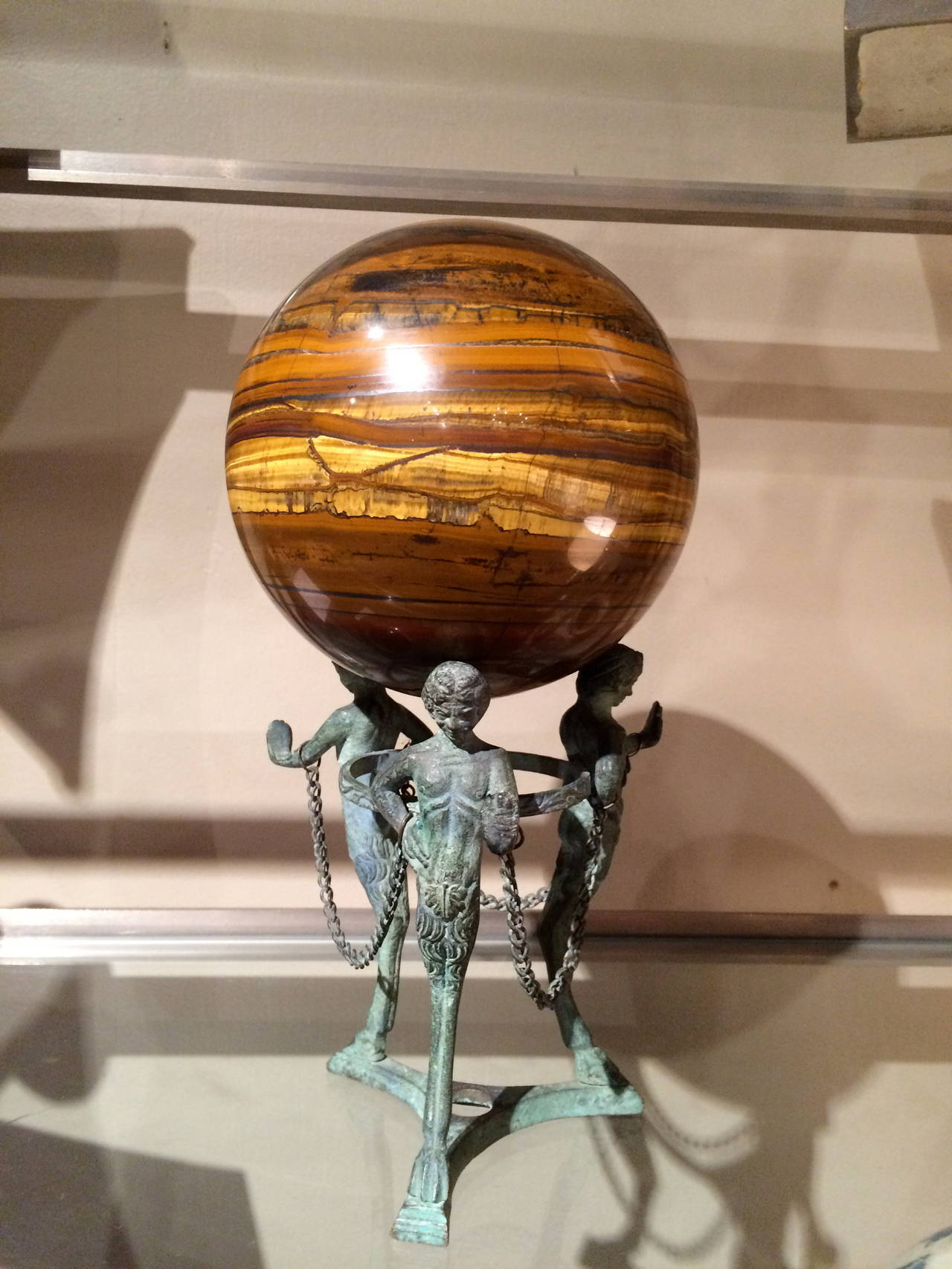 19th Century Grand Tour Neoclassical Bronze Tripod Stand with Agate Orb For Sale