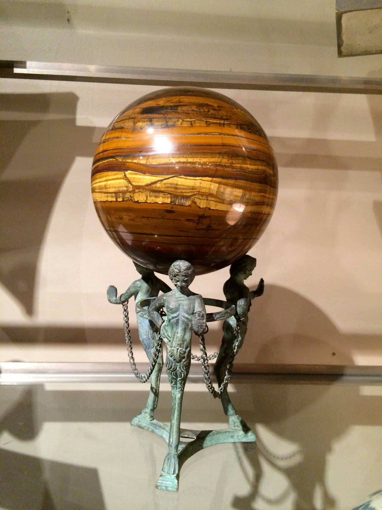 Grand Tour Neoclassical Bronze Tripod Stand with Agate Orb For Sale 1