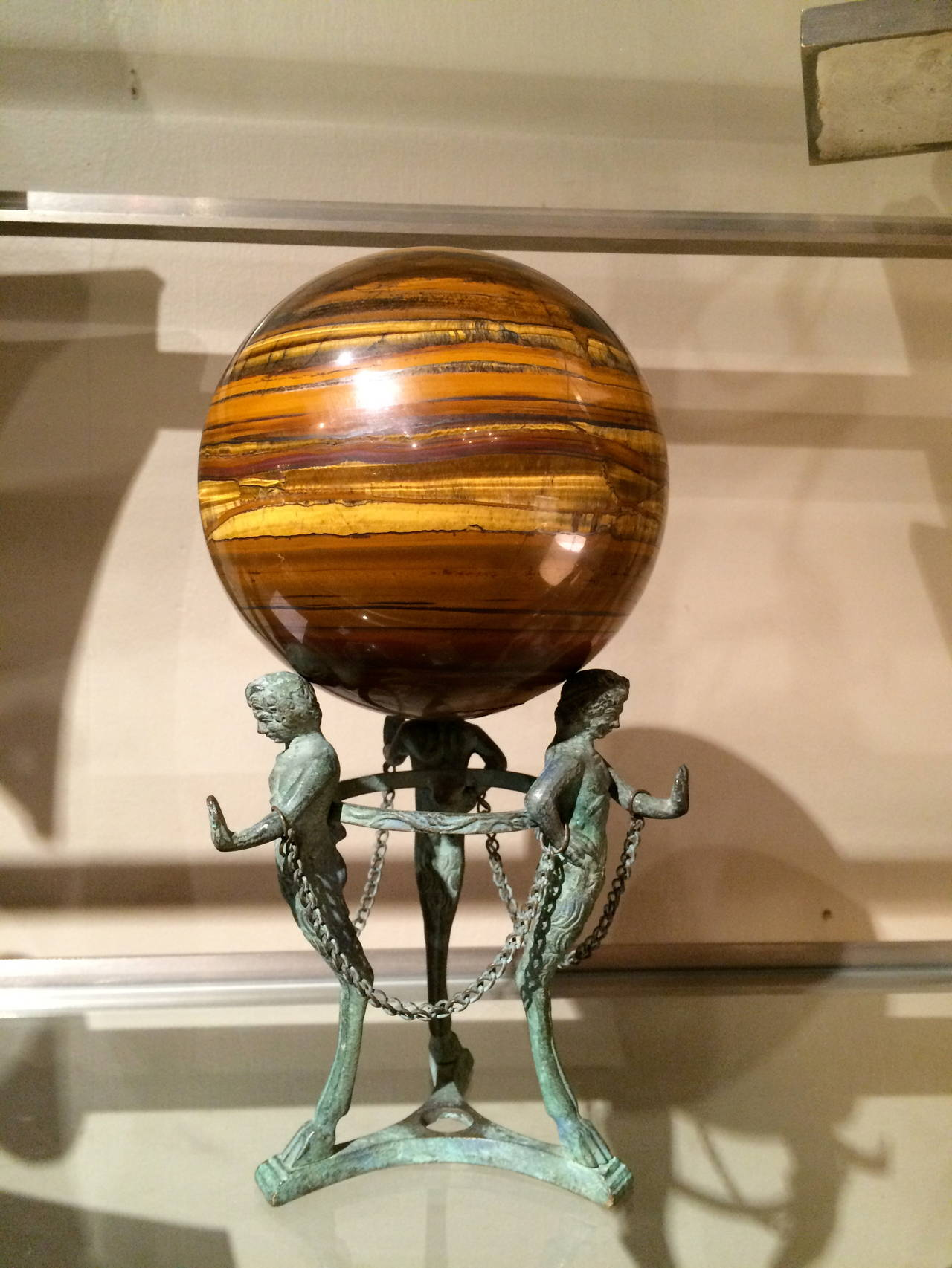 Grand Tour Neoclassical Bronze Tripod Stand with Agate Orb For Sale 2