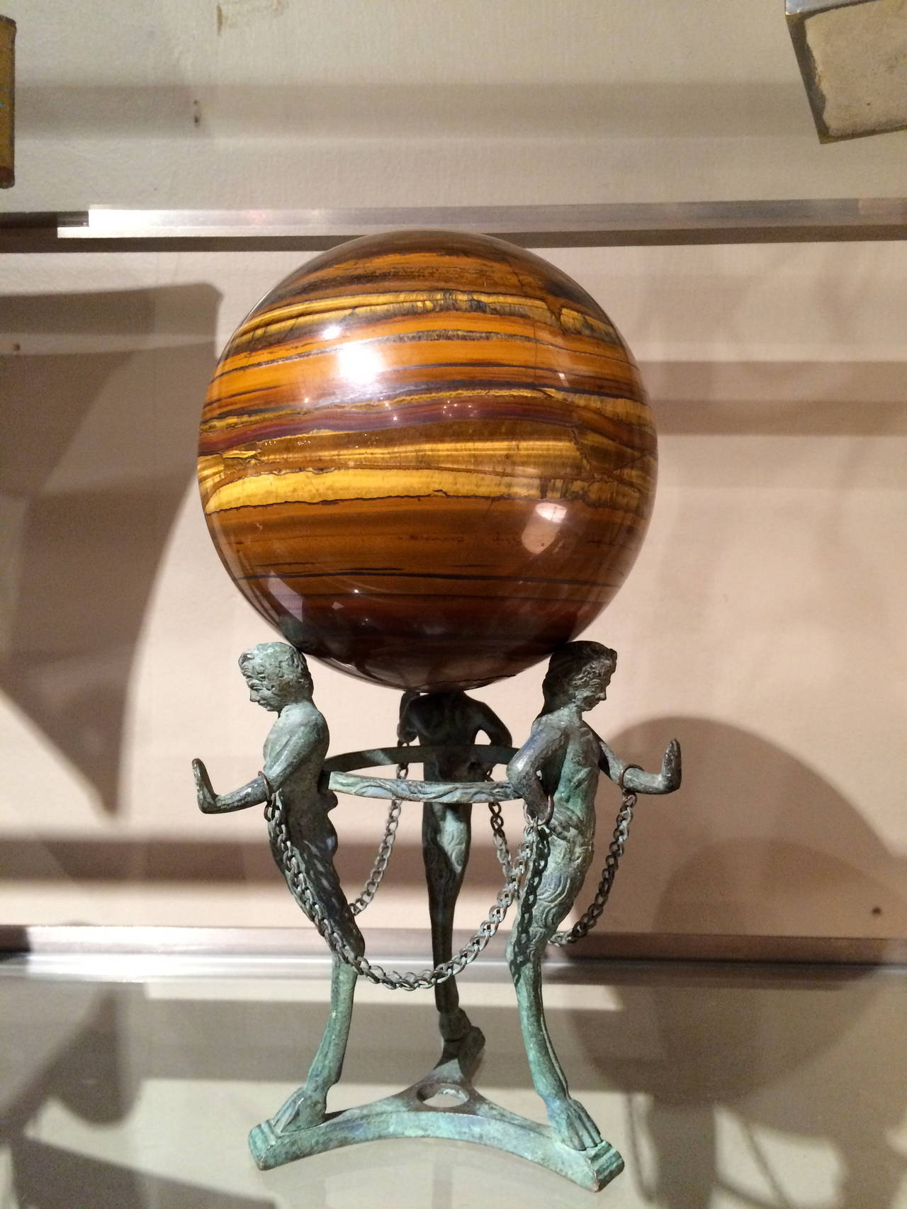 Grand Tour Neoclassical Bronze Tripod Stand with Agate Orb For Sale 3