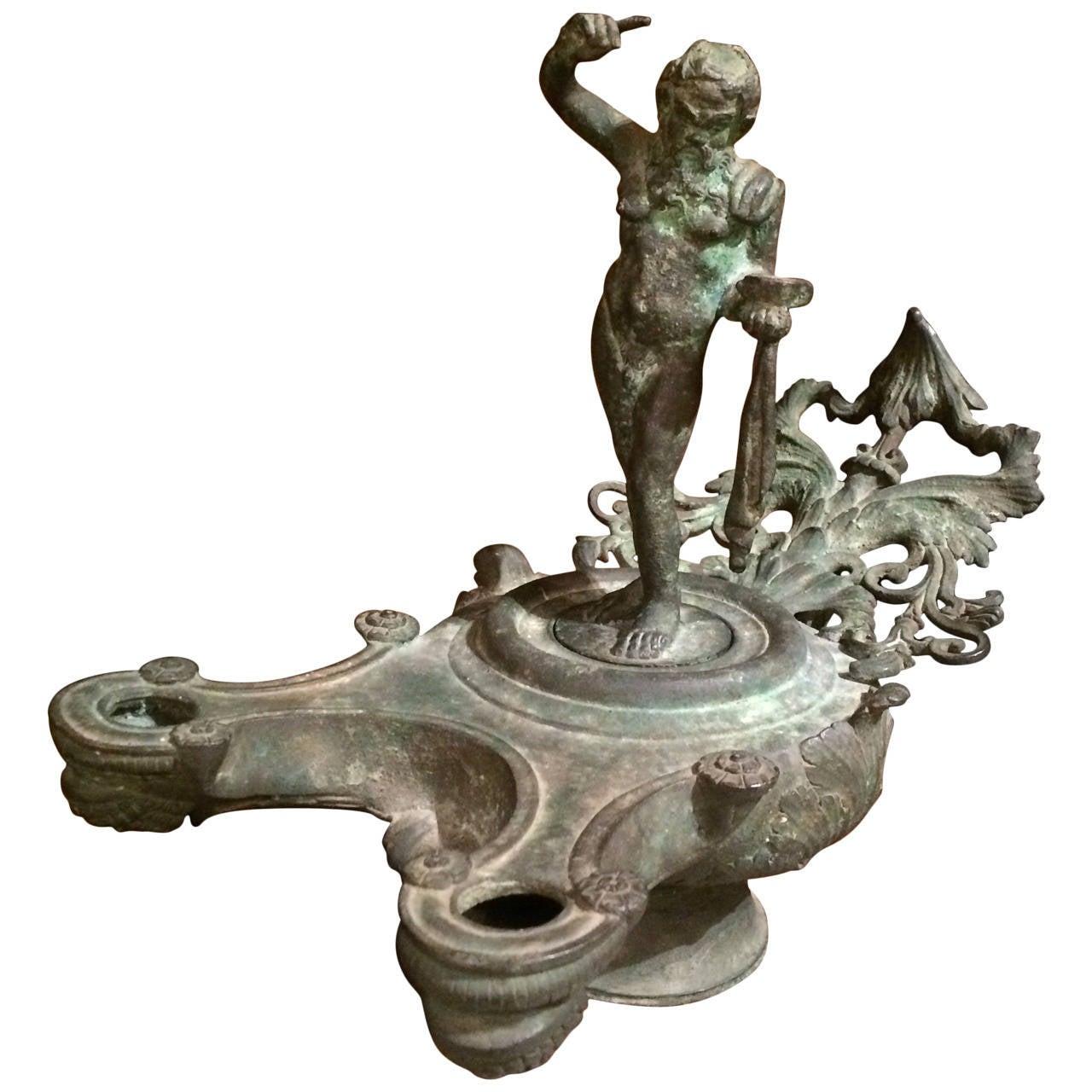 Grand Tour Bronze Oil Lamp at 1stdibs