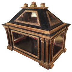 Italian Neoclassical Painted and Gilt Wood Architectural Reliquary