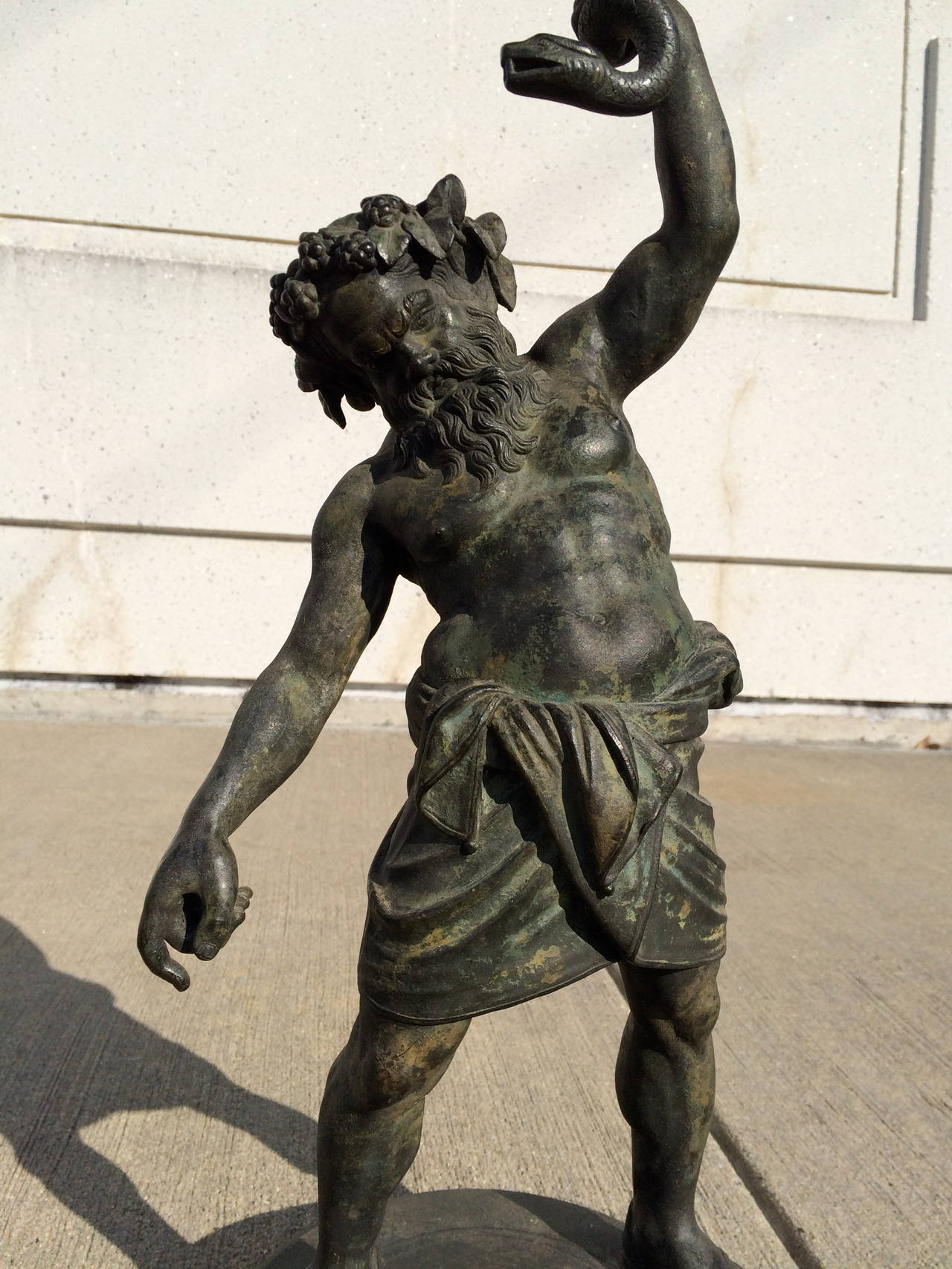 Italian Grand Tour Pompeian Bronze of Silenus, Large Scale For Sale
