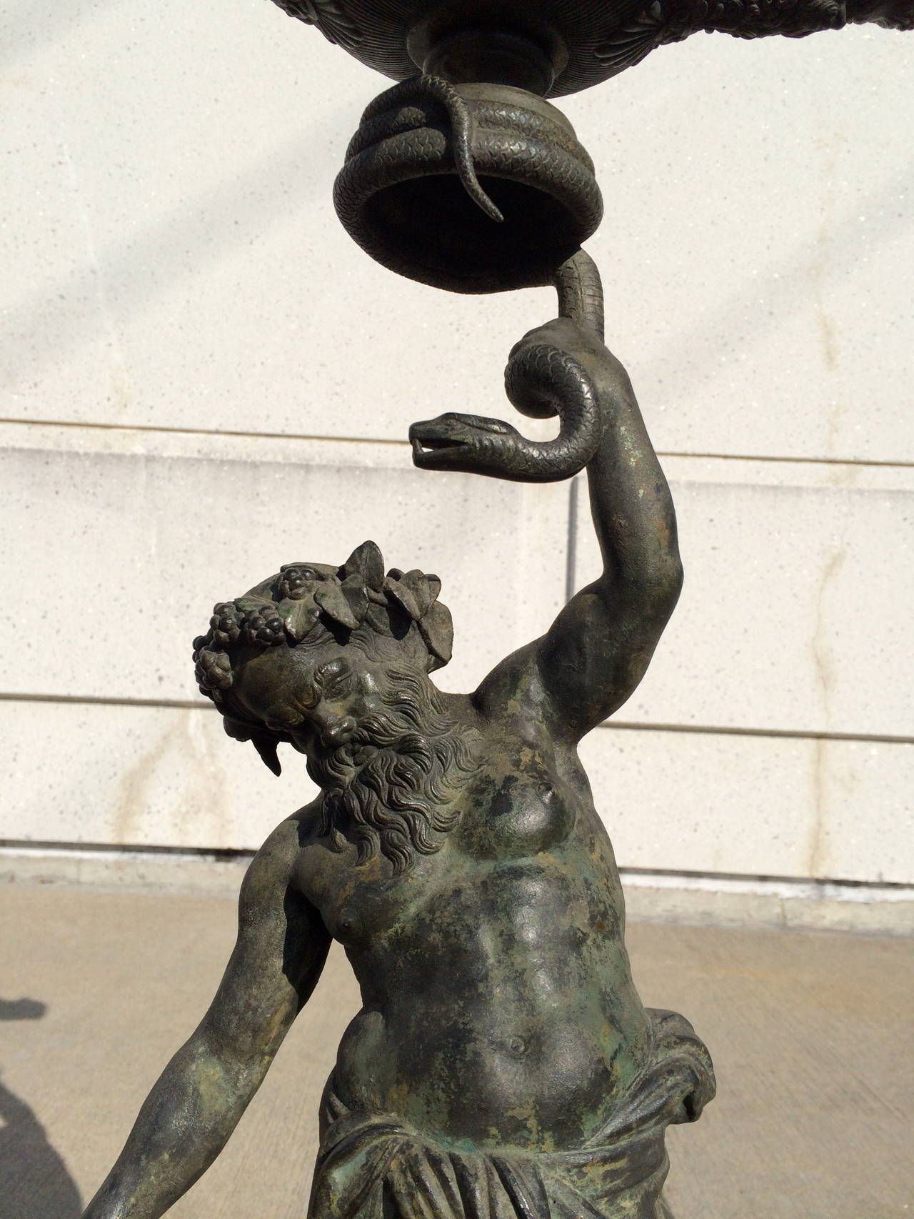 Grand Tour Pompeian Bronze of Silenus, Large Scale In Excellent Condition For Sale In Stamford, CT