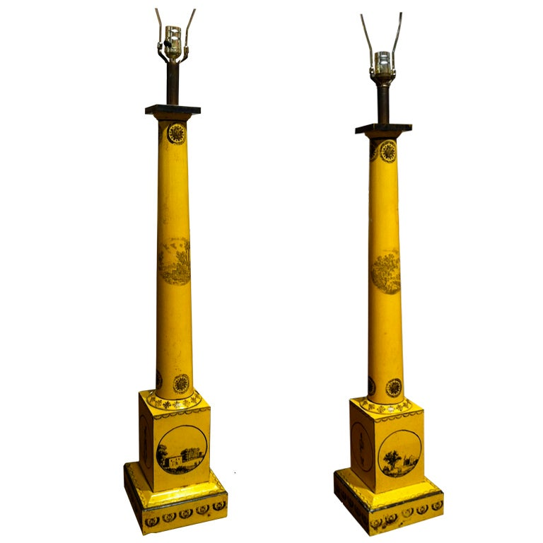 Pair of Large-Scale Neoclassical Column Form Yellow Tole Lamps