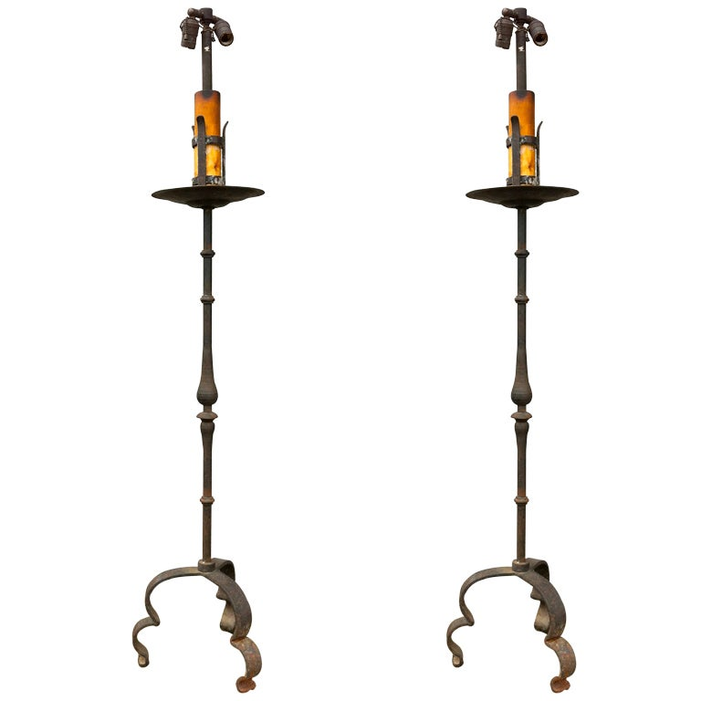 pair wrought iron torcheres at 1stdibs. Black Bedroom Furniture Sets. Home Design Ideas