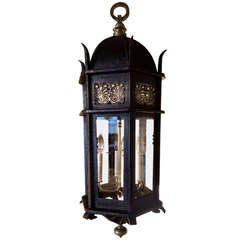 Iron and Bronze Hanging Lantern, Style of E. F. Caldwell