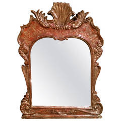 Venetian Rococo Painted Red and Silver Mirror